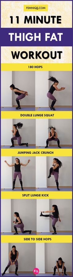 11 minute thigh fat workout to help sculpt and tone your thighs. No equipment needed, do it at home. Source by Femniqe Tabata Workouts, At Home Workouts, Workout Routines, Workout Meal Plan, Fat Workout, Woman Workout, Le Pilates, Lose Thigh Fat, Workout Session