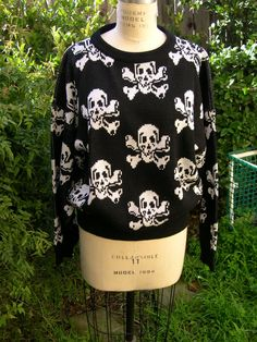Lip Service Skull and Crossbones Sweater by wolvesahead on Etsy, $30.00