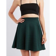 Charlotte Russe Textured Skater Skirt ($17) ❤ liked on Polyvore featuring skirts, forest green, knee length skater skirt, stripe skirt, green skirt, green striped skirt and striped skirt