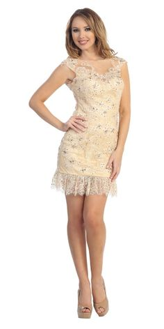 An intricate, form fitting lace dress with cap sleeves and subtle sequin detailing