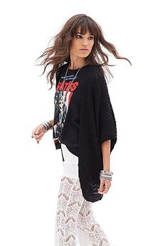 Open-Knit Batwing Cardigan | FOREVER21 - 2000138148