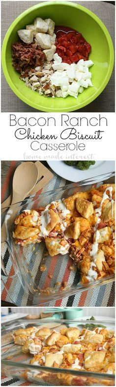 This tasty chicken casserole recipe is made with four of my favorite ingredients, rotisserie chicken, ranch dressing, bacon, and biscuits! Chicken Biscuit Casserole, Casserole Dishes, Casserole Recipes, Crockpot Recipes, Chicken Recipes, Cooking Recipes, Easy Recipes, Healthy Recipes, One Pot Meals