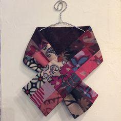 銘仙30枚はぎ×コード刺繍の小さな襟巻き187(ダークブラウン)ストール ネックウォーマー プチマフラーの画像2枚目