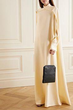 The Row - Nandi draped silk gown Muslim Fashion, Modest Fashion, Fashion Dresses, Simple Dresses, Elegant Dresses, Oriental Dress, Muslim Dress, Engagement Dresses, Silk Gown