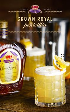 When the temperature drops, bring out the Crown Royal. Sip on this smooth and spicy winter cocktail, the Penicillin. Penicillin Recipe: oz Crown Royal Deluxe oz lemon juice oz honey-ginger syrup Garnish with lemon twist & candied ginger Dessert Drinks, Bar Drinks, Cocktail Drinks, Cocktail Recipes, Alcoholic Drinks, Beverages, Cocktails, Bartender Drinks, Hey Bartender