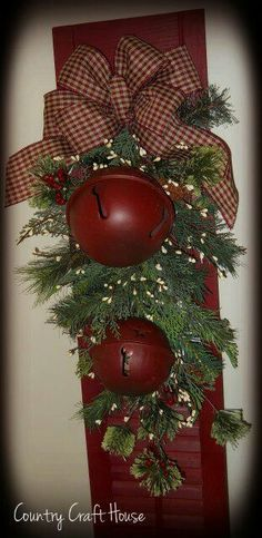 I have the shutter.would use rusty bells instead of red ones.maybe add a Merry Christmas sign or burlap ribbon? by Rachael Shannon Shaw Merry Christmas Sign, Primitive Christmas, Outdoor Christmas, Rustic Christmas, Winter Christmas, All Things Christmas, Christmas Holidays, Christmas Wreaths, Christmas Ornaments