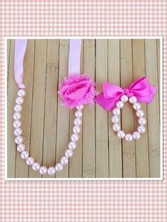 Gwen- Custom pearl, ribbon and shabby chic flower necklace and bracelet set, birthday gift, flower girl gift, toddler jewelry, photo prop jewelry