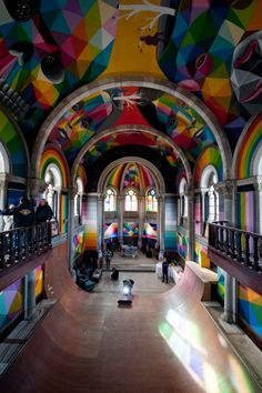 """Madrid-based artist Okuda San Miguel painted these awesome murals inside """"La Iglesia Skate"""" (The Skate Church), an abandoned church in Asturias that was acquired by… Image Deco, Okuda, Take Me To Church, Sistine Chapel, Skate Park, Kirchen, Street Artists, Architectural Digest, Santa Barbara"""