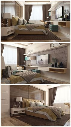 Small Bedroom Ideas - All the bedroom design ideas you'll ever need. Find your design and create your dream bedroom plan whatever your spending plan, style or area size. Hotel Room Design, Tv In Bedroom, Modern Bedroom Design, Master Bedroom Design, Home Interior Design, Bedroom Decor, Bedroom Designs, Bedroom Ideas, Bedroom Furniture