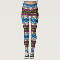 """These leggings will give you an entirely new exotic look. Similar to the currently trending """"Ikat"""" style, this design blends abstract art, technology and psychedelia in a completely unique fashion. The origination image is from my Kinetic Collage """"Sweet Dreams"""" series of light show photos. Over 3000 products at my Zazzle online store. Open 24/7  World wide! Custom one-of-a-kind items shipped to your door. This design is exclusively…"""
