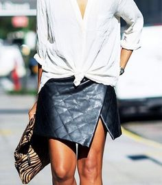 Tied top + asymmetric leather
