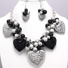Chunky silver&black charm necklace · Ashas Jewelrybox · Online Store Powered by Storenvy