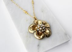 14k Gold Flower Pendant / Pearls, Rhinestones, Real Gold Chain / Vintage Hollywood Inspired - Bridal Bride Mother Friend Love Girl Gift by MaisonMagnolia on Etsy