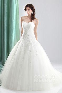 Timeless Ball Gown Sweetheart Dropped Waist Court Train Tulle Wedding Dress CWLT1304C