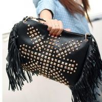 Korea Women's Tassel Rivet PU Leather Shoulder Bag Cross-body Bag