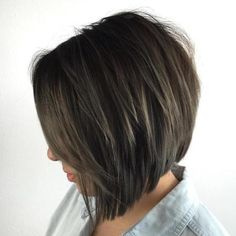 Layered Angled Brunette Bob