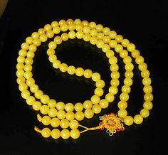 "Chinese Yellow Jade Gems 108 Beads(0.4"") Buddhist Prayer Mala Necklace WZ1099"