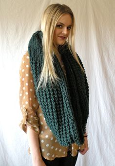 Oversized Infinity Scarf Chunky Knit Forest Green