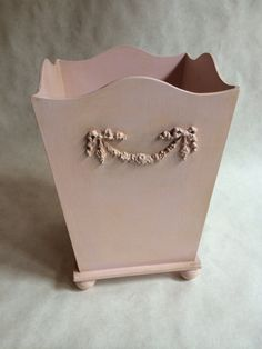 pink waste basket, shabby chic trash can by babydreamdecor on Etsy