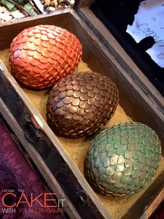I made these Dragon Egg Cakes for a Game of Thrones sweet table at a book signing with George RR Martin. He even asked me what flavour they were (the answer - chocolate). Just make sure you look around to ensure The Mother of Dragons isn't around before you dig in!