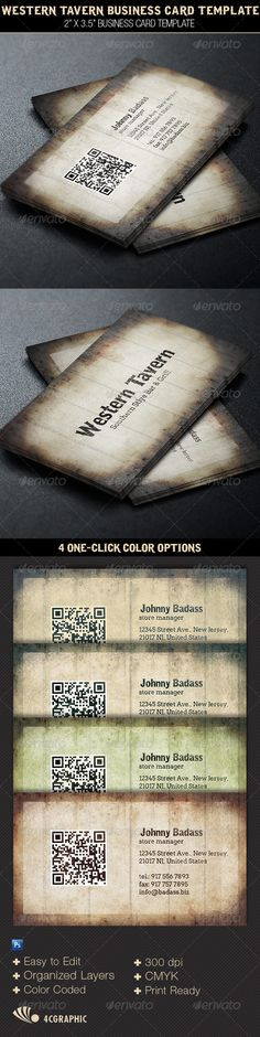 Western Tavern Business Card Template — Photoshop PSD #country #grunge • Available here → https://graphicriver.net/item/western-tavern-business-card-template/6334201?ref=pxcr