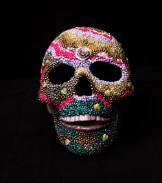 Beaded Sugar Skull Lamp Day of the Dead by PiecesofhomeMosaics