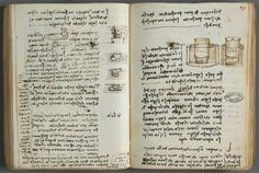 One of Leonardo da Vinci's many notebooks, this one diagramming a potter's wheel, c. 1508-1509.