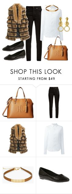 """""""Faux Fur Vest"""" by jfcheney ❤ liked on Polyvore featuring Yves Saint Laurent, Chico's, A.F. Vandevorst and Soft Style By Hush Puppies"""