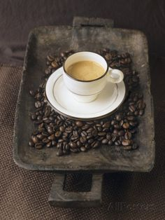 """A Cup of Espresso on a Wooden Bowl with Coffee Beans Photographic Print by Anita Oberhauser at AllPosters.com - in the collection """"Coffee Culture by linenandlavender.net - http://www.pinterest.com/linenlavender/"""