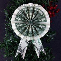 Dollar Bill Origami ROSETTE & RIBBON