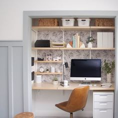 Top 40 Best Closet Office Ideas - Small Work Space Designs home office, gold and white office, close Closet Office, Workspace Design, Office Nook, Home, Small Workspace, Closet Bedroom, Guest Bedroom Office, Work Office Decor, Office Design