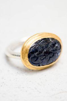 Karen Liberman Carved Sapphire Ring
