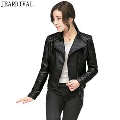 2017 Autumn Winter Women PU Leather Jacket Street Fashion Casual Long Sleeve Turn-down Collar Short Basic Coat Motorcycle Jacket #Affiliate
