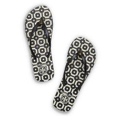 434ba8a6a Black-Tory Tile Print Flip Flops