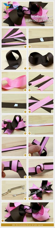 homemade hair clips out of ribbon