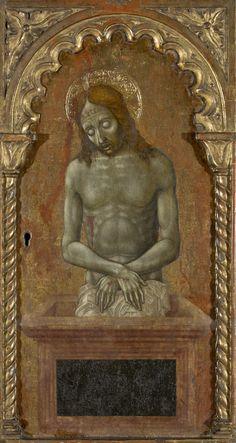 Niccolò di Liberatore (chamado l`Alunno), Ecce homo, Cristo morto no sarcófago como Vir dolorum (Foligno, Ombria, ca. 1480-1500, Museu de Arte de São Paulo)