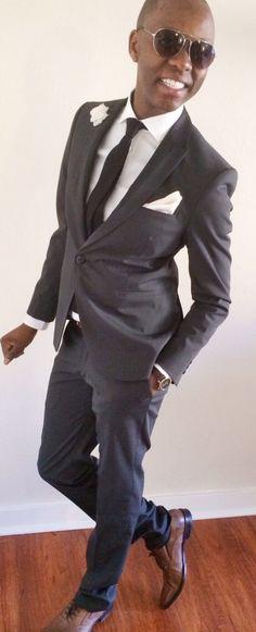 """unwavering decades""  Techno Stretch Suit - @Ashley Lam   Dress Shirt - @Calvin Klein  Skinny Tie - @H&M  Silk Pocket Square - @REISS   Skinny Leather Belt - @J.Crew  Flower Pin - @hook + ALBERT  Oxfords - @HUGO BOSS  Time Piece - @Timex"