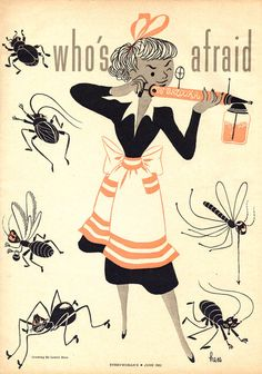 Lowell Hess,Who's Afraid of the Big Bad Bug!interior magazine spread illustration, Every Woman Magazine, 1961