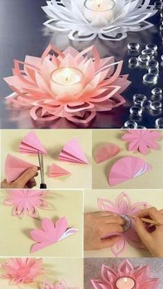 Find images and videos about cool, diy and Easy on We Heart It - the app to get lost in what you love. Paper Flower Vase, Paper Flowers Wedding, Tissue Paper Flowers, Diy Flowers, Lotus Flowers, Diy Paper, Paper Crafts, Paper Lotus, Decoration Evenementielle