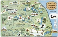 Postcard map of the Norfolk Broads Norfolk Broads, Norwich Norfolk, Norfolk Coast, Travel Maps, Travel Posters, Places To Travel, Suffolk England, Great Yarmouth, Voyage