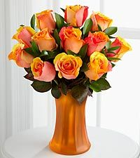 Fall Fantasy Fiesta Rose Bouquet - 12 Stems - VASE INCLUDED