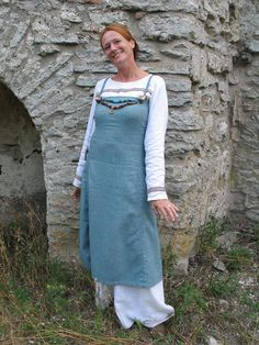 """""""Viking dress with a wool dress and a linen dress underneath. Medieval Clothing by Lena Torp."""""""