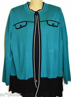 Exclusively MISOOK Cardigan Teal Open Front Long Sleeve Jacket Large | eBay