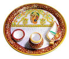 Decorative Pooja Thali Ganesha Artwork USA Printed in Marble, Indian Handicraft #krishnakraftindia #Traditional