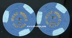 """#LasVegasCasinoChip of the Day is a $1 Vegas World :Good for one Play"""" 1st issue you can get here http://www.all-chips.com/ChipDetail.php?ChipID=18065 #CasinoChip #LasVegas"""