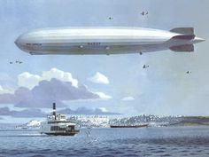 The image above shows the dirigible Graf Zeppelin over San Francisco Bay while on its 1929 around-the-world flight. Steampunk Airship, Dieselpunk, Gothic Steampunk, Steampunk Clothing, Victorian Gothic, Steampunk Fashion, Gothic Lolita, Zeppelin, Old Photos