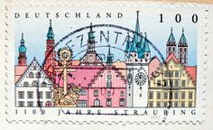 stamp germany 100 pf. straubing german city stadt oldtown Deutschland germany stamp timbre allemagne francobollo selo by stampolina, via Flickr