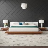 Latitude Run® Jacoury Queen Low Profile Platform Bed & Reviews | Wayfair Gray Upholstered Headboard, Upholstered Platform Bed, Cabin Design, Bed Design, Queen Platform Bed, Bed Dimensions, Buying A New Home, Bed Reviews, Mattress Springs