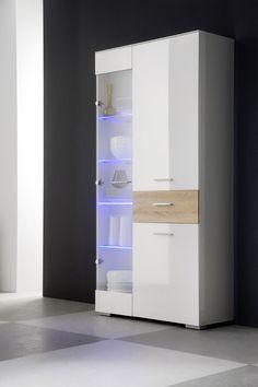 Nice Vitrine Cornelia mit EXTRA Front mit Wechselschubladenfront Wahlweise mit LED Beleuchtung Die M belkollektion
