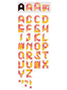 "Jiemei Lin's 2013 ""Tangram Font"" Graffiti Lettering Fonts, Typography Alphabet, Typography Fonts, Graphic Design Typography, Logo Design, Geometric Font, Geometric Shapes, Puzzle Logo, Tangram"